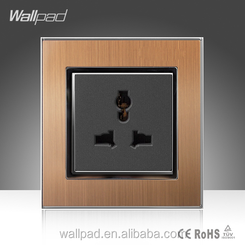 Multi Plug Socket Wallpad Gold Satin Metal Electrical 3