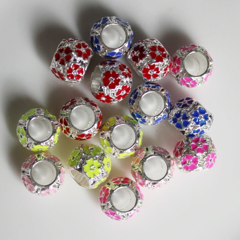 Factory Supply Colors Charms Loose Spacer Carved Flower Metal Beads 5.5 mm Large Hole