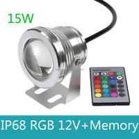 10W DC 12V RGB LED Underwater Light 16 colors change with remote control Fauntain Tank Pool Light IP68