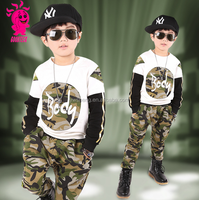 2016 Hot sale 2pcs boys camouflage set for spring and autumn import from summer