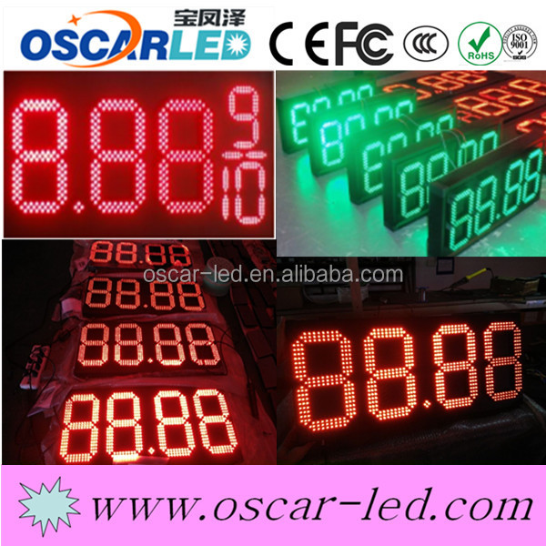 high quality hd led panels outdoor advertising led screen 12 inch 7 segment led display gas station led price 4 digital sign