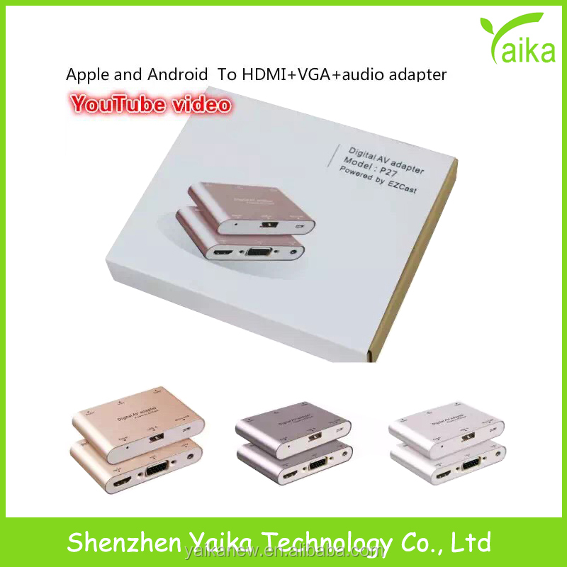 Yaika Digital AV Multiport Adapter for iphone and android to HD MI+VGA+audio adapter