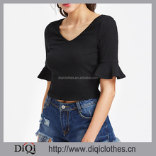 Latest Designs Black Rib Knit Fluted Sleeve V Neck Ruffle Skinny Knit Tops