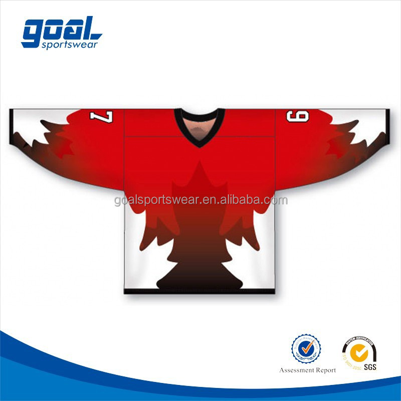 2015 wholesale 100% polyester sublimation custom team canada ice hockey jerseys
