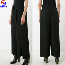 Wholesale clothing china cheap women black linen blend belted palazzo pants