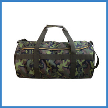 Camouflage cylinder shape sports duffel bag