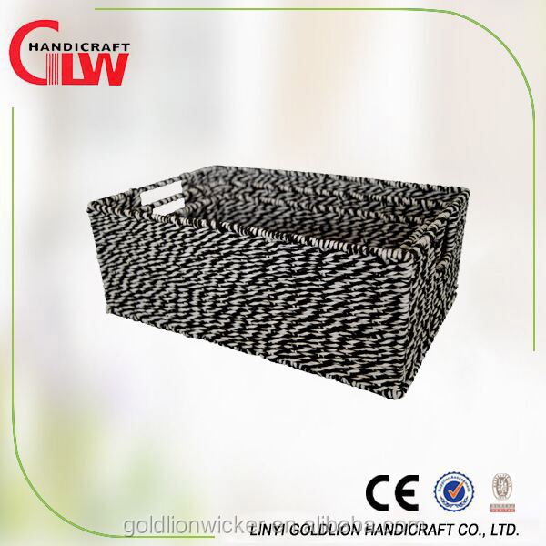 eco-friendly woven wire frame paper rope storage basket