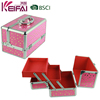2 Trays Red Heart Pattern Aluminum Cosmetic Case And Box