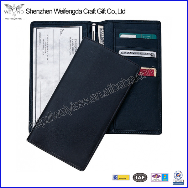 Fashion High Quality Black Men's Leather Checkbook Wallets