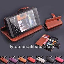 NEW lichi Multifunctional Flip Stand PU Leather Wallet Cover Skin Case For HTC ONE M7