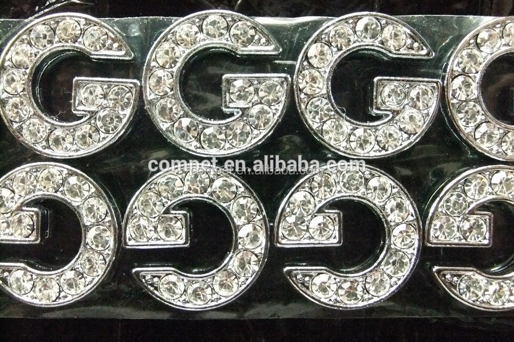 Best Quality Rhinestone 10mm Diamante Alphabet Slide Letters