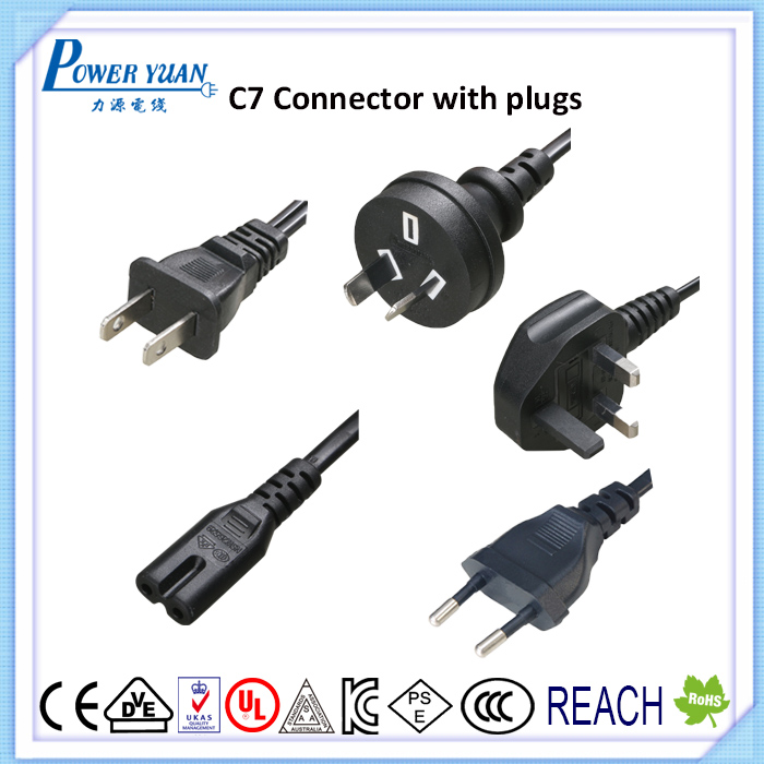 Fast Figure 8 IEC C7 2 pin connector as end of power cord UL CE VDE UK SAA PSE aproval
