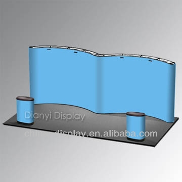 Hot sale & flexible W Shape magnetic pop up display with PVC panel, advertising pop up display stand for exhibition