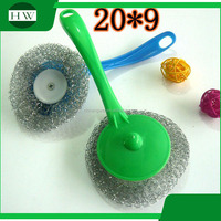 kitchen cleaning ball stainless steel scourer with plastic handle ss pot scourer pot scouring