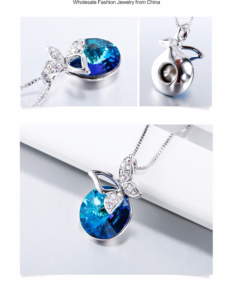 2017 New Authentic Austrian jewelry ocean blue big crystal pendant necklace with zircon butterfly charm 11630-172000