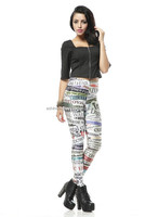 2015 Fashion Newspaper pattern digital printed Leggings DK161/Wholesale woman sexy fitness leggings