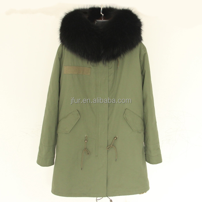 2016 Fashion faux fur lined big raccoon fur collar hoodie long style parka jacket