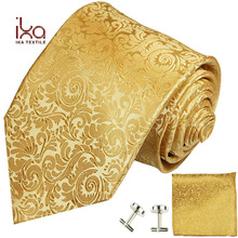 Golden Woven Jacquard Pure Natural Silk Neck Tie AND Pocket Square Set Dropship
