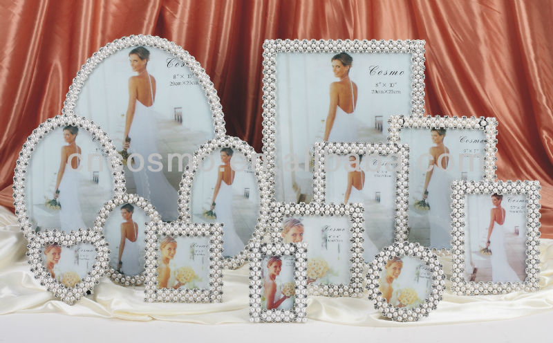 TOP 5 SOLD IN UK, Special for Wedding Square,Rectangle and Heart Shape Pearl & Crystal Wedding Photo Frames