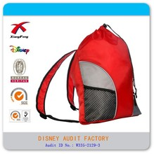 Polyester drawstring backpack with shoulder strap mesh pockets