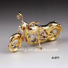 24K gold plated decorative classic motorbike with swarovski crystals