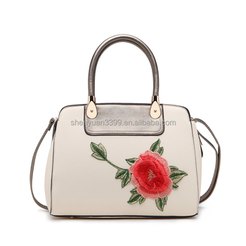 Dongguan Supplier embroidery shoulder bag tote,large capacity pu leather messenger bag