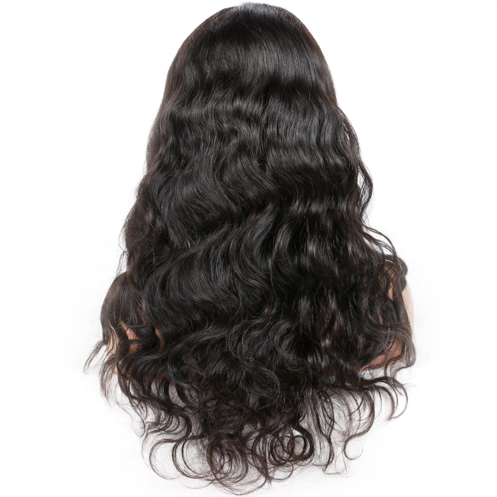 malaysian virgin body wave pre plucked hairline human hair wig 150% density 360 lace wig