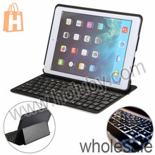 Wholesale Backlit Bluetooth Keyboard for iPad Air , Stand Keyboard Leather Case for iPad Air
