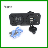 Dual USB 2.1A Charger LED Voltmeter Panel Mount Marine Motorcycle Power Outlet