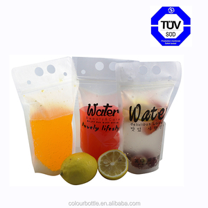 Stand Up Disposable Resealable Ziplock Clear Drinking Pouches Bags for Lemonade, Iced Coffee, Any Cold Beverage, Cocktail