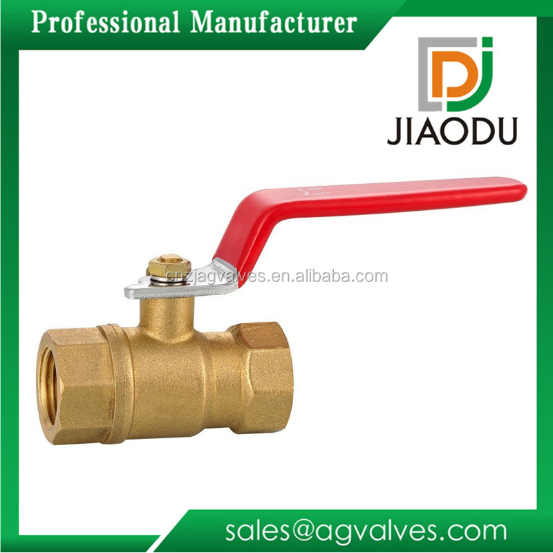 high quality JD-5700 forged CW617N brass ball valve 600 wog water red lever handle