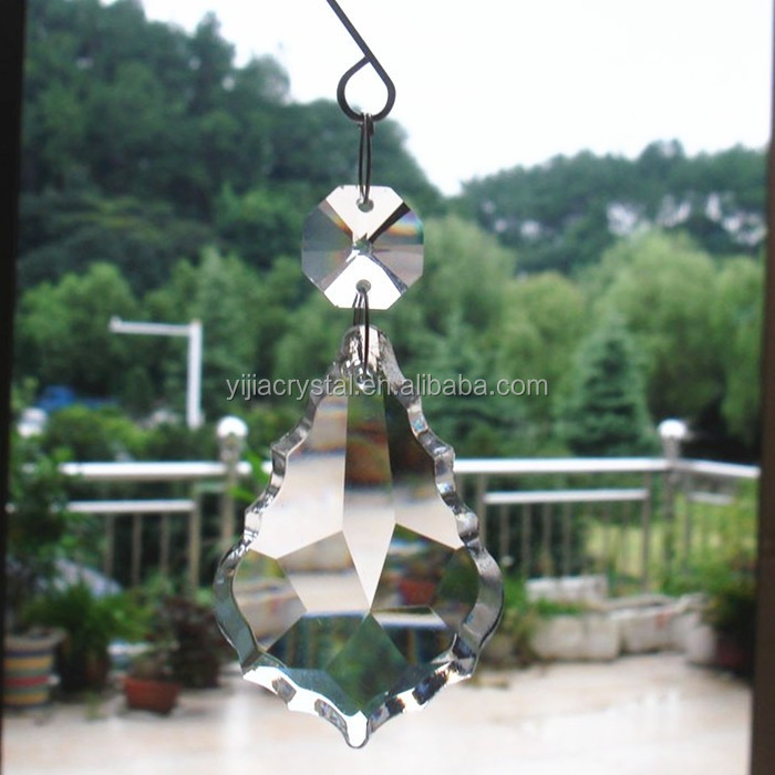50mm crystal maple leaf pendant with fancy hook for HANGING glass GARLAND STRAND