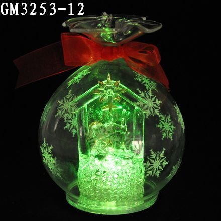 Cute led glass candy ball with red ribbon as home decoration
