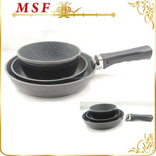 forged aluminum pot and pan set with one shared removable handle