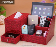 Multifunctional Desktop Stationery Storage Leather Office Desk Organizer Box
