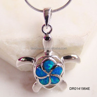 2015 Charm Sea Turtle Opal Pendant,Blue Opal Pendant Jewelry,Wholesale Silver Opal Jewelry DR0141963P Accepted by paypal