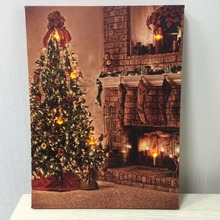 wholesale LED canvas christmas wall art light up christmas canvas