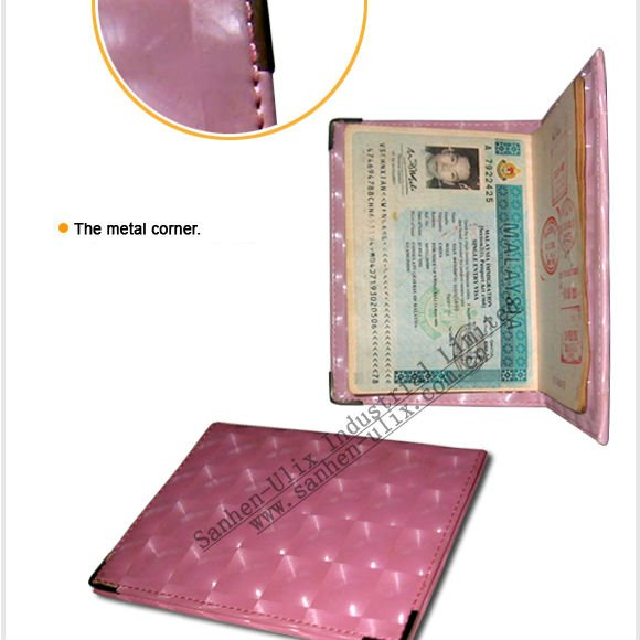 Passport holder with metal horn, available in various colors