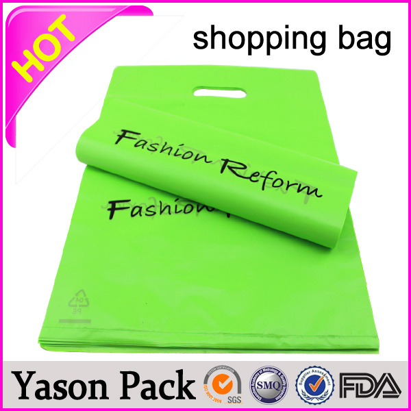 Yason .plastic shopping gift packaging soft loop plastic shop handle bag cheap logo shopping tote bags