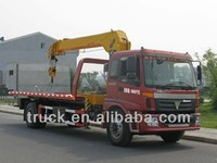 Foton flatbed truck with crane for sale, 10 ton truck flat body crane