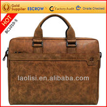 Brown leather men briefcase conference bag