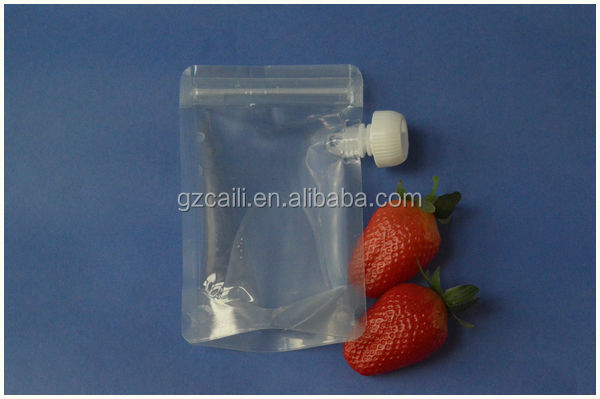 oem customed liquid ziplock reusable drink pouch with spout