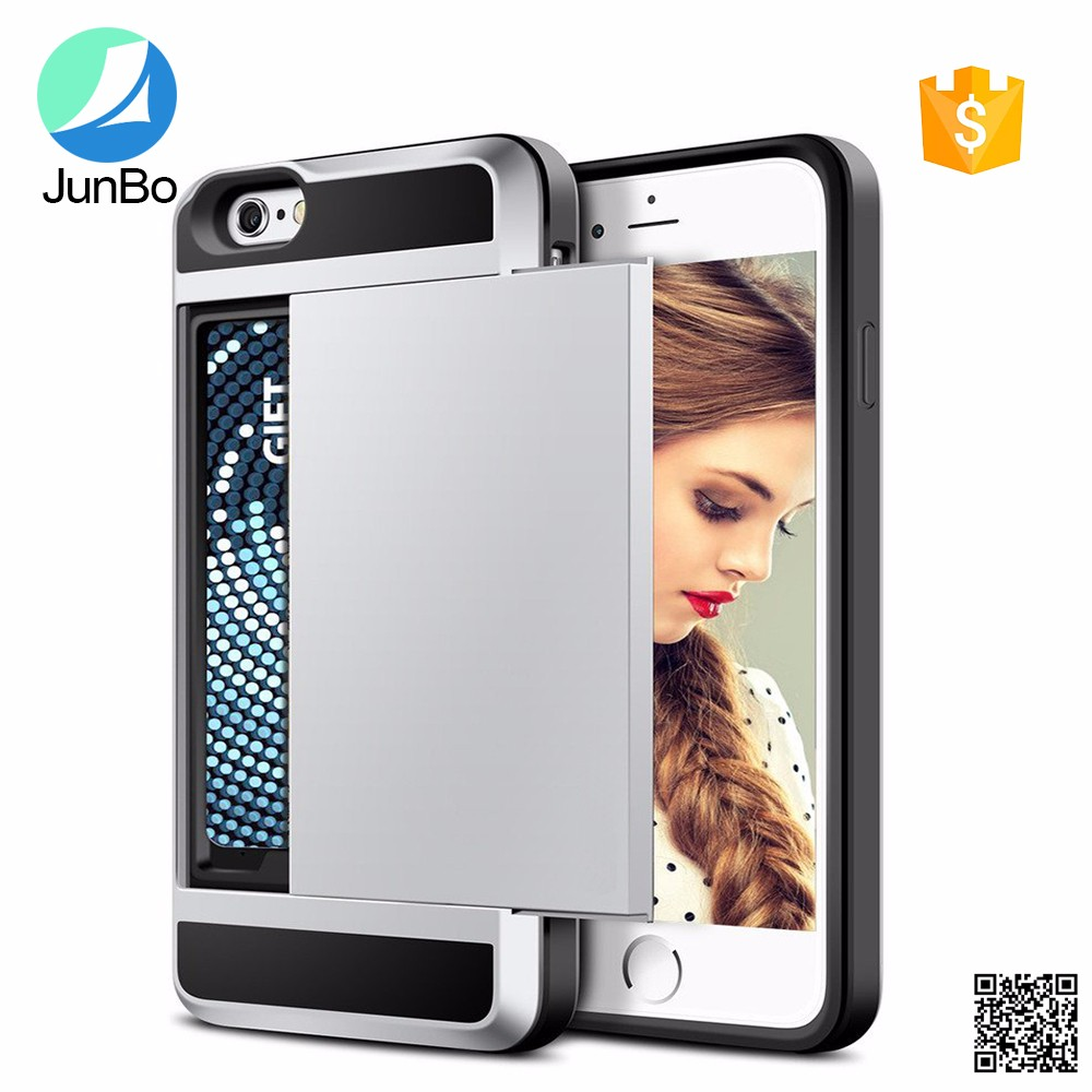New Products Hybrid Combo TPU PC Back Cover Credit Card Slot Cell Phone Case For <strong>Iphone</strong> 6s