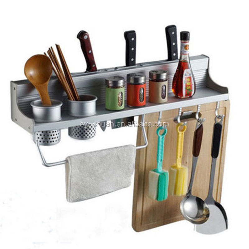 Aluminum Kitchen Storage Rack Pantry Pan Pot Organizer Cookware Holder Hooks Spice Dinnerware wall Shelf 50cm