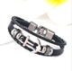 Wholesale inspirational mens black leather bracelet anchor bracelet with stainless steel clasp jewelry vendors