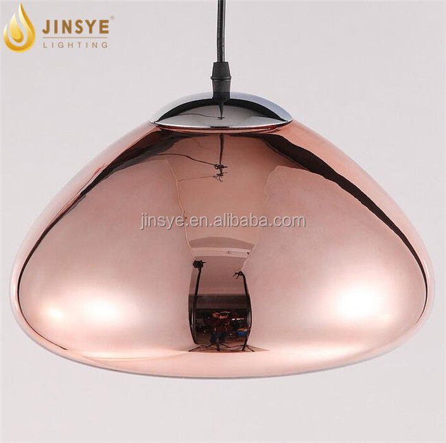 Coffee room Retro lighting Copper color glass lamp shade