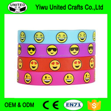 wholesale emoji /sport bracelet cheap custom silicone rubber bands printed logo silicone wristbands