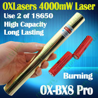 OXLasers OX-BX8 Pro. Full Brass 4000mw 4W focusable Burning Blue Laser Pointer with 5 heads burn paper light cigar