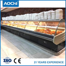 Curved glass lid fresh meat service over counter cooler chiller