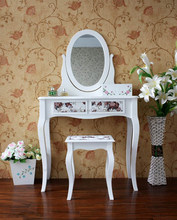 White Color Simple Design Mirrored Dressing Table